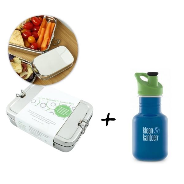 Lunchbox Gross + Minibox mit Trinkflasche 355ml Farbe Sky Diver (blau)