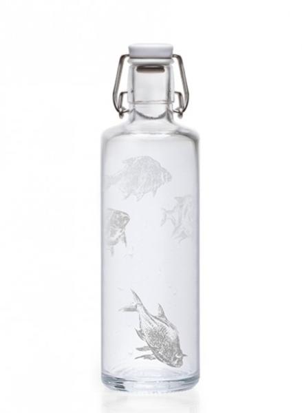 Soulbottles Trinkflasche aus Glas (1L) - Made in Germany - Motiv Silberfische