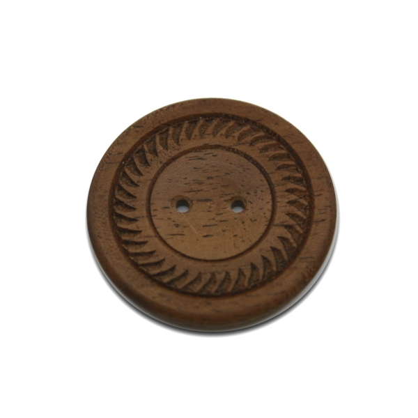 2-Loch-Knopf aus Nußbaumholz Unikat Vorderseite