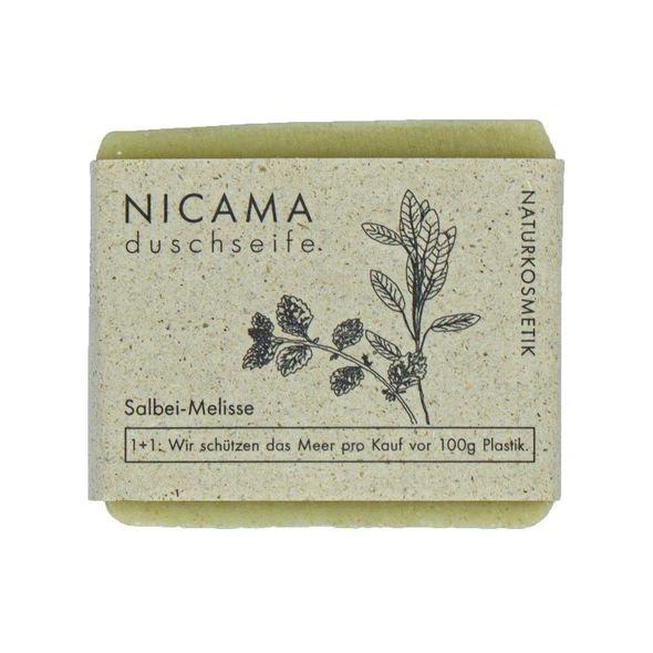 NICAMA Duschseife Melisse-Salbei Naturkosmetik 100 Gramm Handgeschöpft