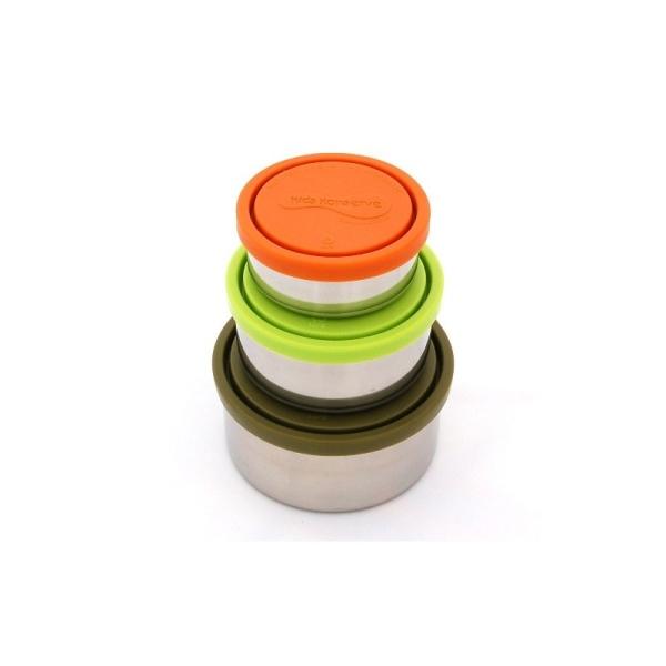 Lunchdosen - rund - 3er Set moss