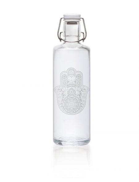 Soulbottles Trinkflasche aus Glas (1L) - Made in Germany - Motiv Hand der Fatima