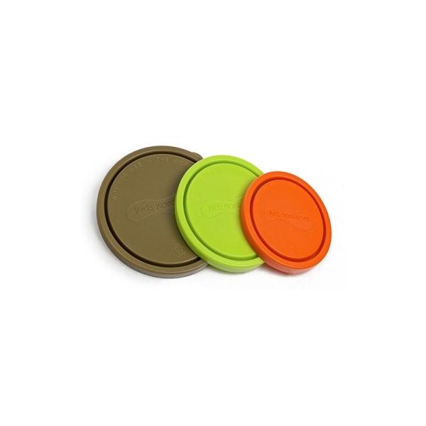 Runde Deckel für Vorratsdose im 3er-Set in den Farben Moosfarben, Lime, Orange