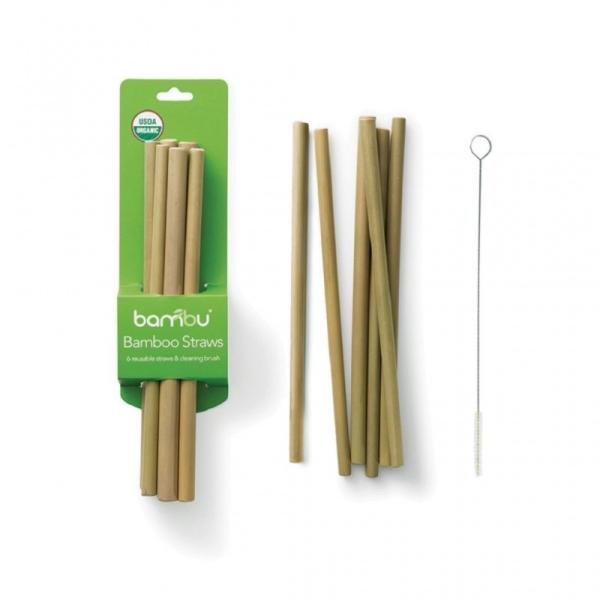 Bambus Strohhalme - 6er Set mit Reinigungsbürste