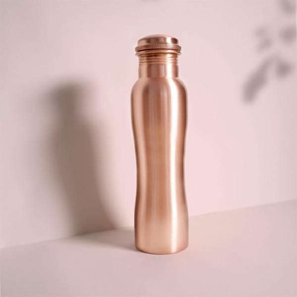 Kupfer Trinkflasche matt mit Kurvenform