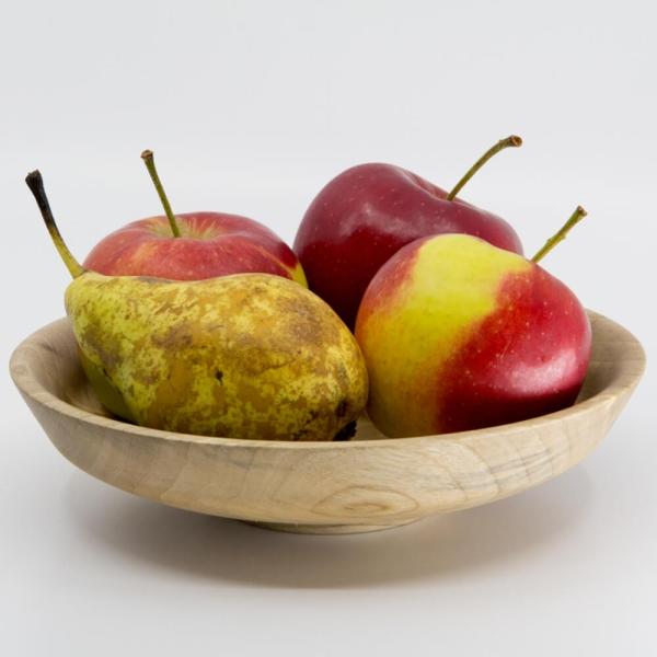Edle Handgefertigte Holzschale aus Nußbaumholz mit Obst