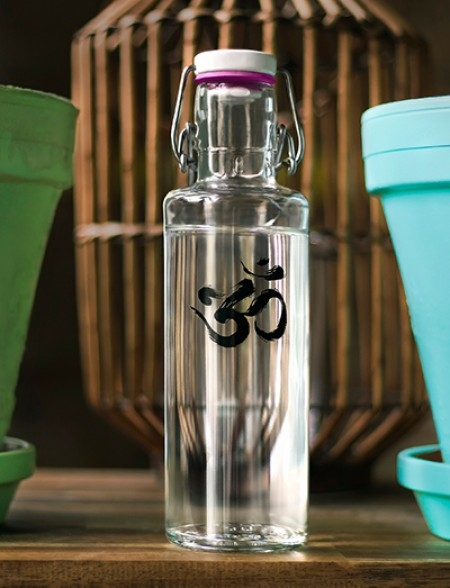Soulbottles Trinkflasche aus Glas (600ml) - Made in Germany Motiv OM Yoga