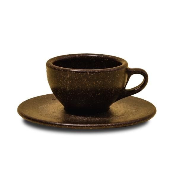 Espresso Tasse mit Unterteller aus Kaffeesatz