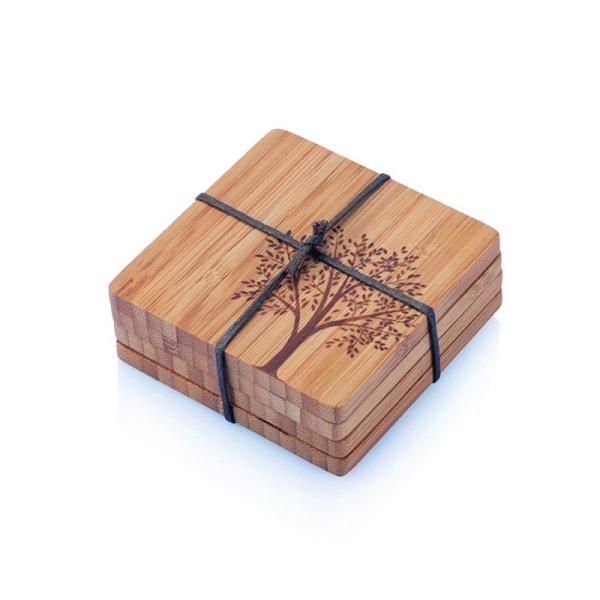 Bambus Untersetzer 4er Set (je 9,5×9,5×0,8cm) Motiv Baum
