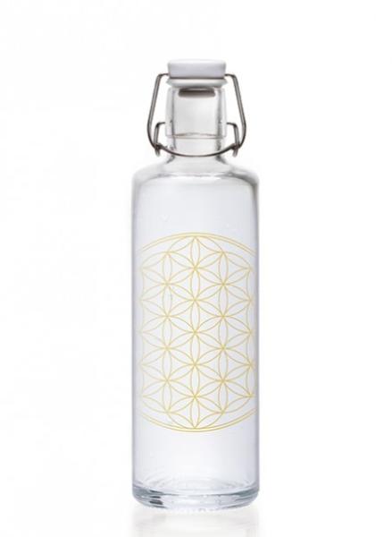 Soulbottles Trinkflasche aus Glas (1L) - Made in Germany - Motiv Blume des Lebens