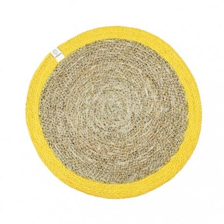 Tischmatte aus Seegras und Jute Ø 28cm - Farbe Gelb Frontansicht