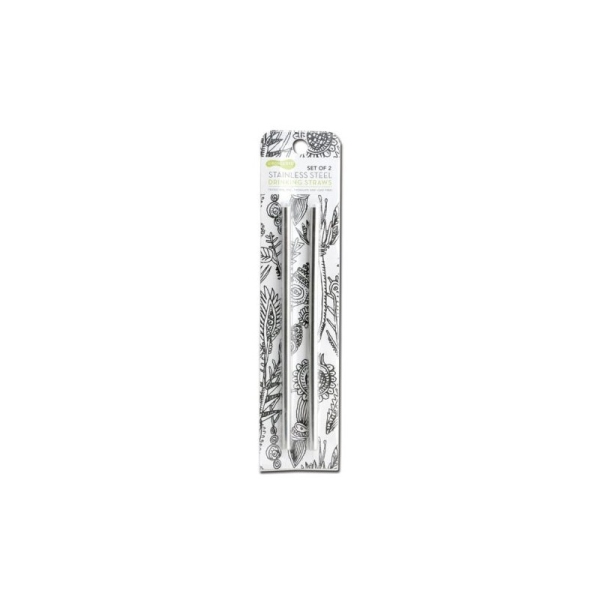 Strohhalm Edelstahl (L 21,5cm/Ø 0,8cm) 2er-Set verpackt