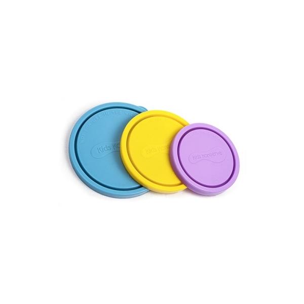 Runde Deckel für Vorratsdose im 3er-Set Sky in den Farben Hellblau, Gelb, Lila