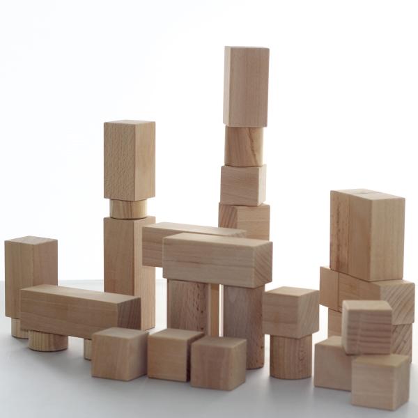Kinder Holzbausteine handgefertigt 48 Teile Buche und Esche unbehandelt Unikate