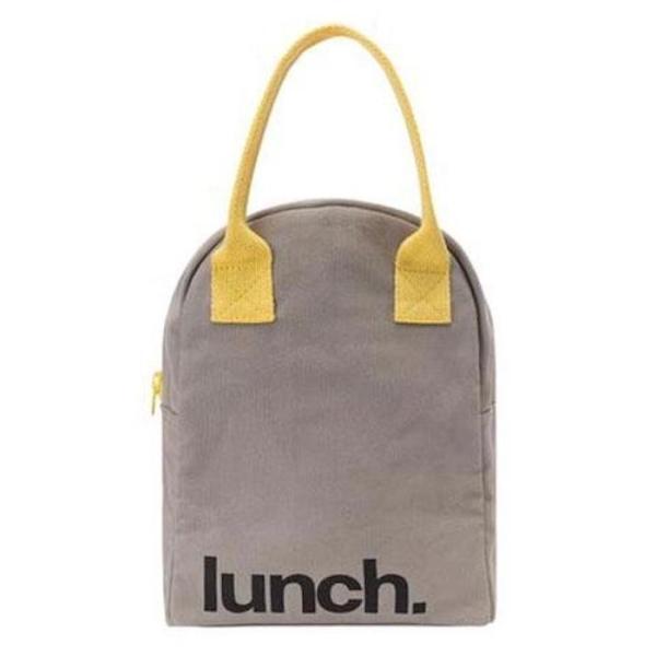 Fluf Lunchtasche mit Reißverschluss - Grau-Gelb