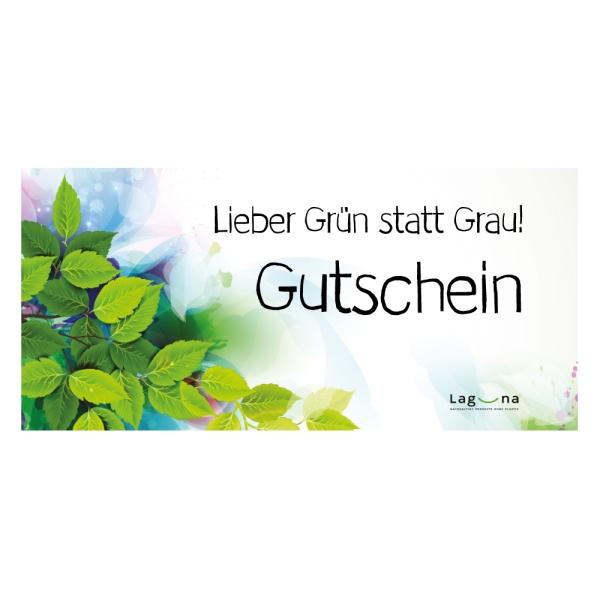 Gutschein - Lieber Grün statt Grau - gedruckt zusenden - Vorderseite