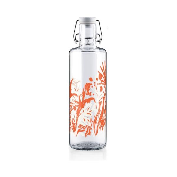 1,0 Liter Soulbottles Glasflasche - Motiv Wildblumen