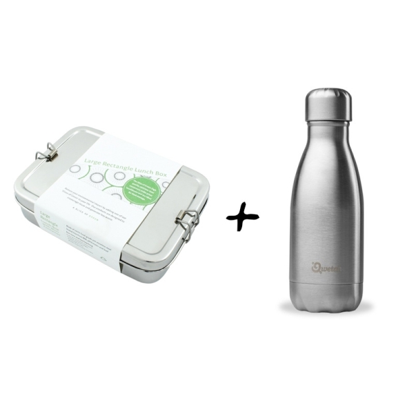 Schulstarterset Edelstahl Brotdose Groß + Minibox und Edelstahl Trinkflasche 260ml silber