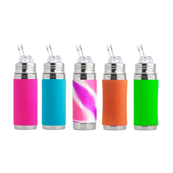 Pura Trinkhalmflasche isoliert 250ml in verschiedenen Farben