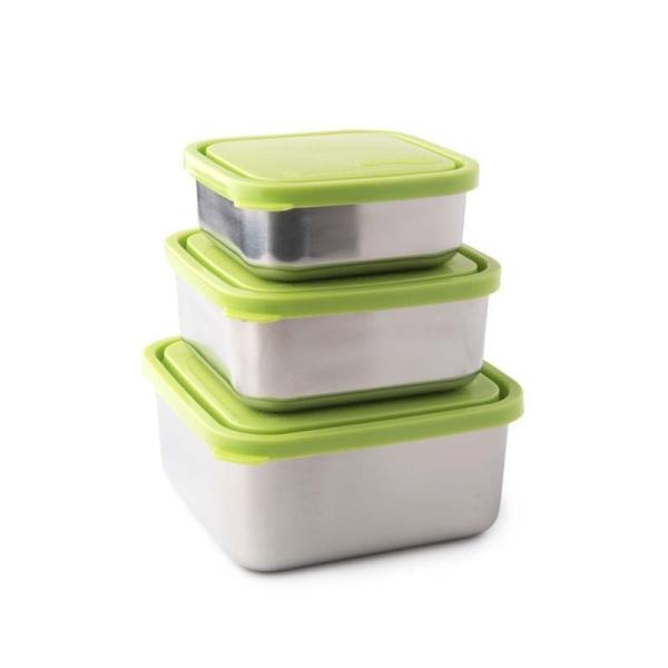 Frischhalteboxen - quadratisch - lime - 3er Set