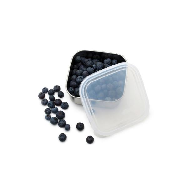 Frischhaltedose – quadratisch – klar, Edelstahl (H 4,5cm, Ø 12cm) Small