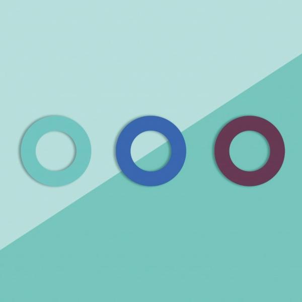Soulbottles 3er-Pack Ersatzgummis in den Farben türkis, blau und lila