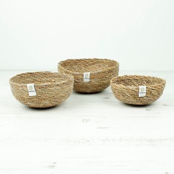 Natürliche Nistschalen 3er-Set aus Seegras