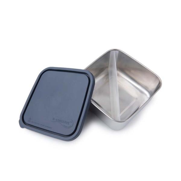 Edelstahl Brotdose - quadratisch - groß - mit Trenner (16,5x16,5x7,5cm) Farbe Ocean