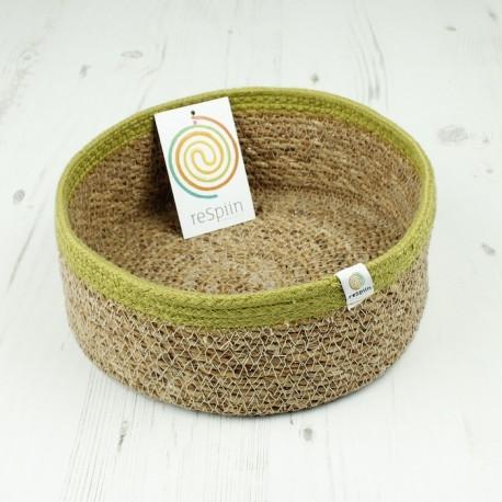 Veganer Aufbewahrungskorb medium aus Jute Ø 21 cm grün