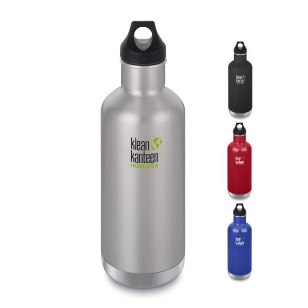 Klean Kanteen Edelstahl Trinkflasche Classic isoliert mit Loop Cap 946ml