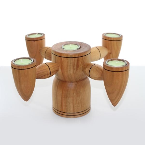 Kerzenleuchter 5-flammig aus verschiedenen Holzarten Unikat