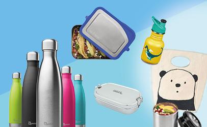Gut versorgt zum Schulanfang, Trinkflaschen, Brotdosen, Lunchtaschen