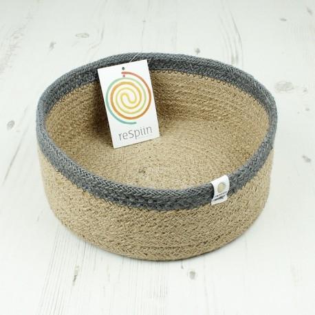 Veganer Aufbewahrungskorb medium aus Jute Ø 21 cm grau