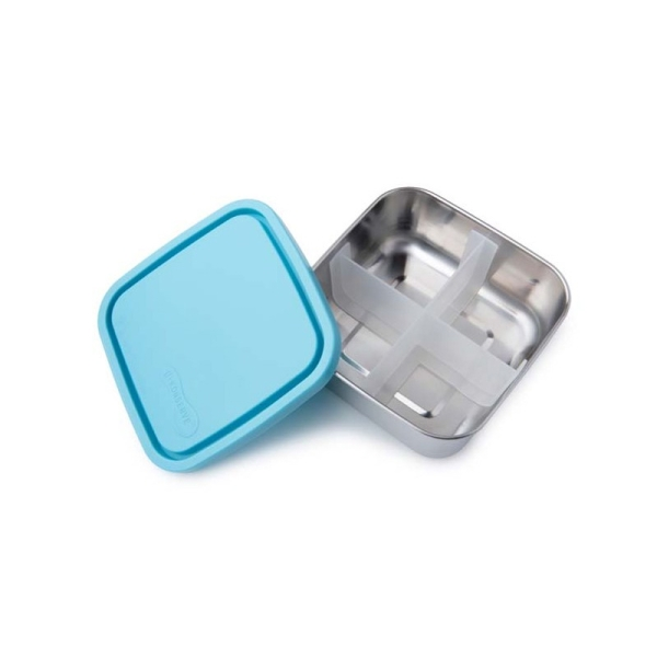 Edelstahl Brotdose - quadratisch - medium - mit Trenner Farbe Sky
