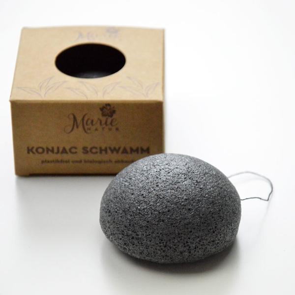 Konjac-Schwamm mit Aktivkohle für Gesicht & Körper