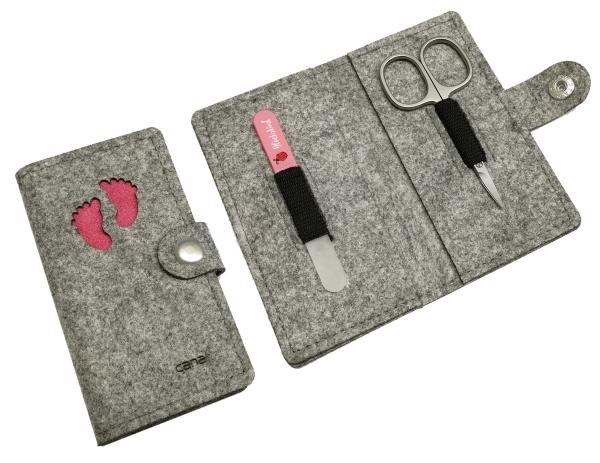 Maniküre Sets für Babys mit Filztasche rosa