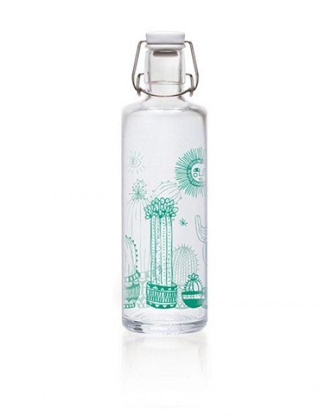 Soulbottles Trinkflasche aus Glas (1L) - Made in Germany - Motiv Cactuspower