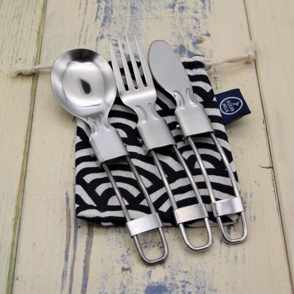 Klappbares Besteck aus Edelstahl - Messer, Gabel, Löffel
