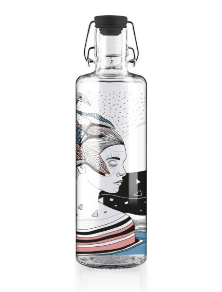 1Liter Soulbottle Glastrinkflasche - WATER IS LIFE Spirit of Nature
