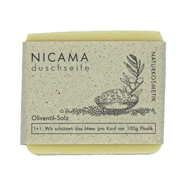 NICAMA Duschseife Olivenöl-Salz Naturkosmetik 100 Gramm Handgeschöpft