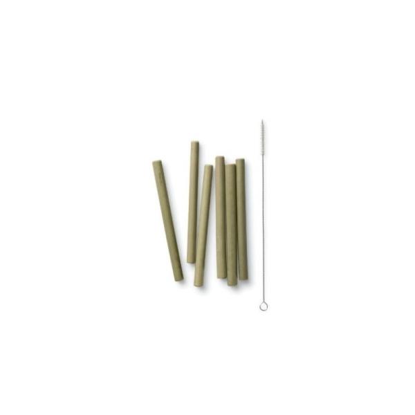 kurze Bambus Strohhalme mit Bürste