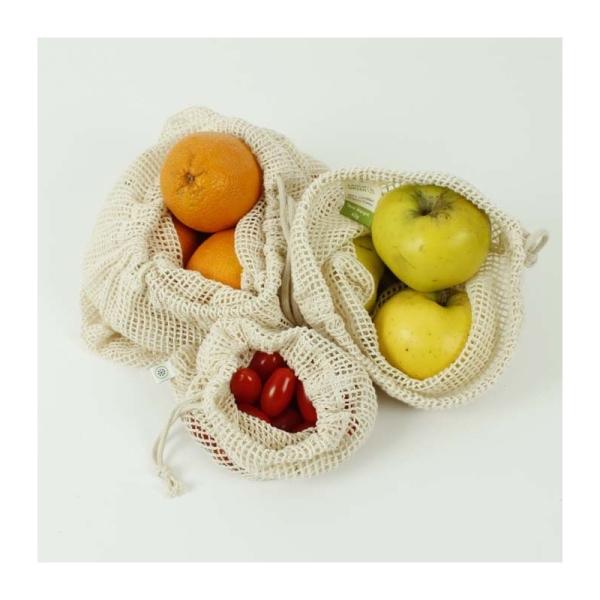 3er Set Aufbewahrungbeutel aus Baumwelle Netzgewebe für Obst und Gemüse