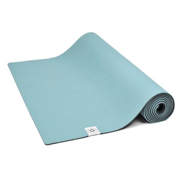 Yogamatte aus nachhaltigem Naturkautschuk und recycelten Plastikflaschen - türkis