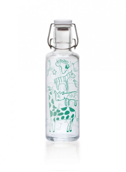 Soulbottles Trinkflasche aus Glas (600ml) - Made in Germany Motiv Kipepeo