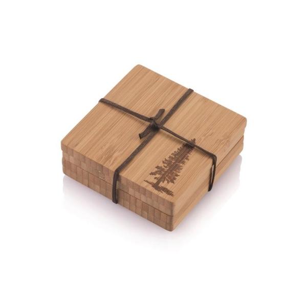 Bambus Untersetzer - 4er Set (je 9,5 × 9,5 × 0,8cm) Motiv Kiefer