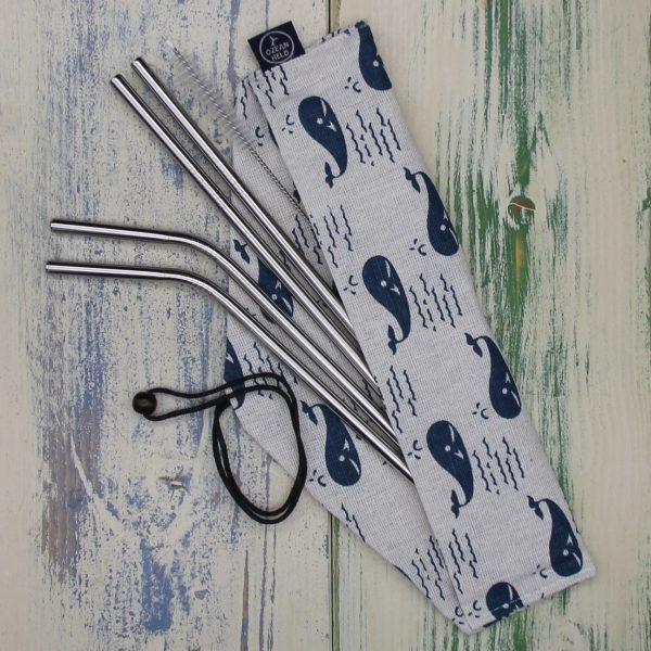 Edelstahl Trinkhalm-Set mit 4 Trinkhalmen, Tasche und Reinigungsbürste - Motiv Wal