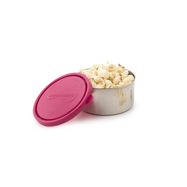 Frischhaltedose – rund – groß – lime (H 5,5cm, Ø 12cm) Deckel Farbe Magenta