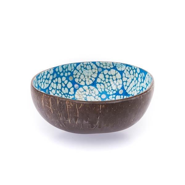 Kokosnussschale Perlmutt-Ei Mosaik (H 6cm; Ø 13cm) Blau