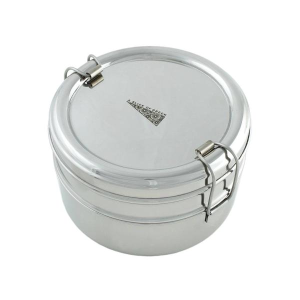 Edelstahl Lunchbox Doppeldecker Rund (H 8cm, Ø 13cm)