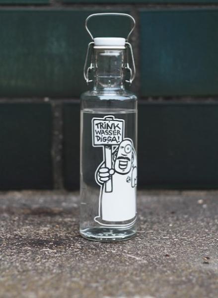 0,6L Soulbottle Trinkflasche aus Glas - Trink Wasser Digga